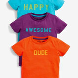 3 Pack Short Sleeve Slogan T-Shirts 3 мес.-7 лет