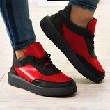 Женские натуральные кожаные красные черные кеды,кроссовки на шнурках на черной,белой,желтой подошве