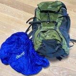Рюкзак большой походе й горы зелёный чехол как Новий Deuter