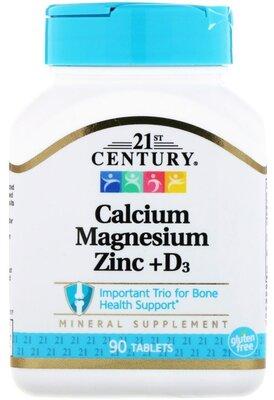 21st Century, Кальций, магний, цинк, D3, 90 таблеток