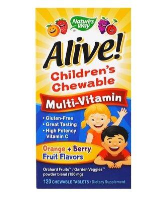 Nature's Way, Alive Детские жевательные мультивитамины, вкус апельсина и ягод, 120 шт