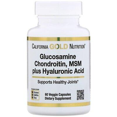 California Gold Nutrition, Глюкозамин, хондроитин, Мсм, гиалуроновая кислота, 60 шт