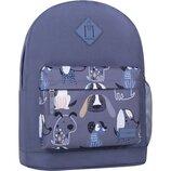 Рюкзак городской Bagland Молодежный 17 л. с принтом собачки мужской женский детский для девочки