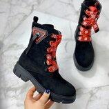 Женские замшевые ботинки с красными шнурками, высокие ботинки 36-40р код 630