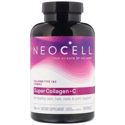 Neocell. Super Collagen C, добавка с коллагеном и витамином C, 250 шт