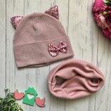 Шикарный набор шапочка и хомут Ушки