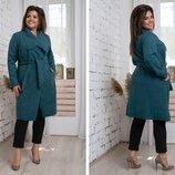 Пальто шерсть вязка на запах размеры 48-54 арт 434
