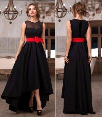 Платье женское вечернее с поясом-бантом от 40 по 60 размер