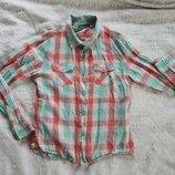Рубашка в клетку 9-10 лет, рост 140 см