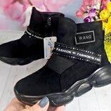 Деми ботинки с эко замша р-р 26-31 фирма bessky черные