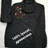 Натуральная рубашка с вышивкой блуза короткая укороченная пепельно-черная М 48 50
