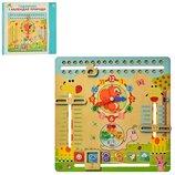 Деревянная игрушка Часы и Календарь природы MD2063 укр/англ язык, часы, календарь, погода