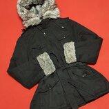 Стильная демисезонная курточка парка с мехом от New Look