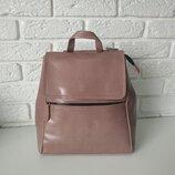 Кожаный сумка-рюкзак городской розовый