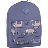 Рюкзак городской Bagland Молодежный 17 л. с принтом ленивцы женский детский для девочки