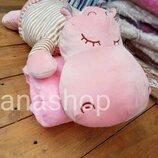 Игрушка подушка плед, детский плед игрушка бегемот
