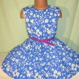 Пышное хлопковое платье на 4-5лет