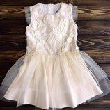 Детское нарядное платье Mevis 2630-1, молочное