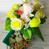 Подарочный букет роз с ангелом из мыла
