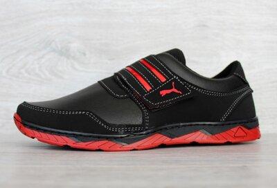Мужские черные кроссовки демисезонные на красной подошве Кф-36Чр