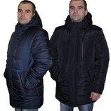 Качественная мужская зимняя куртка рр 48-62 sku-11 синий и черный пуховик мужской