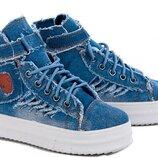Супер Модные Ботинки Джинс Denim Кеды Кроссовки-Варенки Унисекс