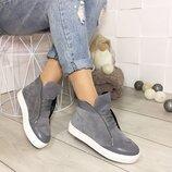 SALE Женские зимние серые натуральные кожаные замшевые хайтопы ботинки высокие кеды на меху шнурках