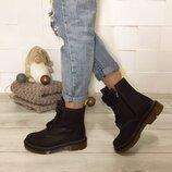 Женские зимние коричневые натуральные кожаные высокие ботинки на шнурках на толстой подошве