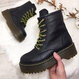 SALE Женские зимние чёрные натуральные кожаные высокие ботинки на шнурках на толстой подошве