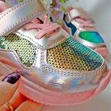 кроссовки с пайетками на девочку р-р 21-31
