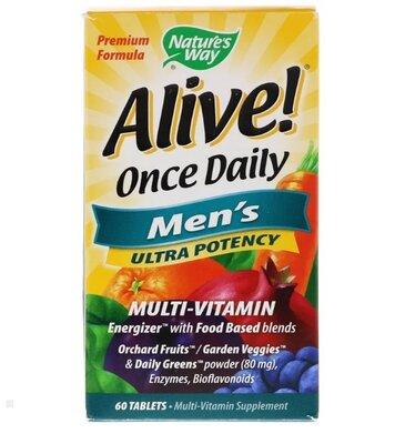 Alive. Один раз в день Для мужчин мультивитамины Суперсила, 60 шт.