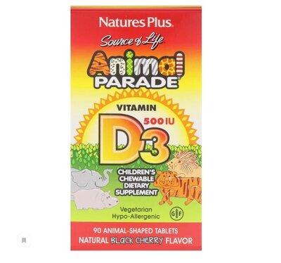 Animal Parade, витамин D3 для детей, вкус натуральной черешни, 500 Ме, 90 животных