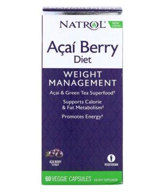 Natrol, Диетические ягоды асаи и зеленый чай, 60 капсул. Снижение веса, антиоксидант, энергия.