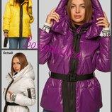 S,M,L,XL, Молодежная куртка дутая деми. Куртка с пояском. Куртка с капюшоном. куртка молодіжна демі