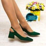 Женские зелёные натуральные замшевые,кожаные остроносые босоножки туфли обтяжной средний каблук