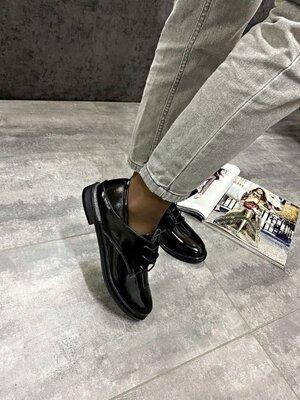 Женские чёрные натуральные кожаные лаковые туфли лоферы оксфорды на шнурках Лакированная кожа