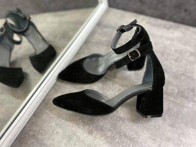 Женские чёрные натуральные кожаные замшевые туфли босоножки с ремешком средний 6 см обтяжной каблук