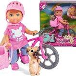 Кукольный набор Simba Toys Эви Холидей На велосипеде Evi Love 12 см с собачкой и аксесс 5733273