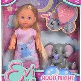 Кукольный набор Simba Evi Love Эви Спокойной ночи с слоненком и аксессуарами 5733355
