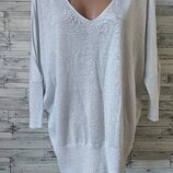 Блузка кофта пуловер Next женская с открытыми плечами серебро блестящая