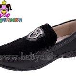 Туфли кожаные на мальчика Шалунишка 34,35,36 р черные арт 5801.