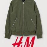 Куртка легка демісезонна Хакі для хлопців 10-14 років від H&M Швеція