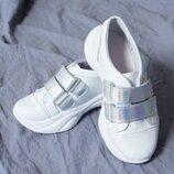 Детские кожаные кроссовки на липучке для девочки 32 33 34 35 36