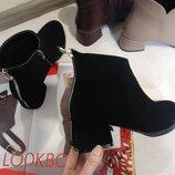 Новинка Ботильоны ботинки чёрные замшевые удобный каблук