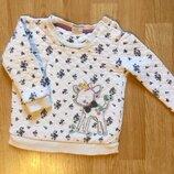 Красивый свитер, джемпер для девочки F&F, размер 9-12 м, 74-80