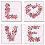 Картина по номерам Роспись на холсте Полиптих LOVE, flowers Сн125