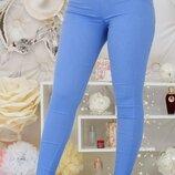 Лосины женские с широким поясом батал стрейч джинс хаки марсалового джинс