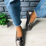 Женские кожаные туфли без каблука никель 7313-1