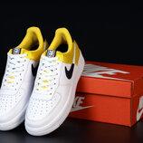 Мужские кроссовки Nike Air Force. White Yellow