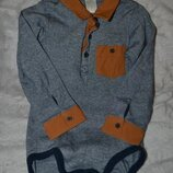 Боди рубашка поло H&M 12-18 мес рост 80-86 Англия